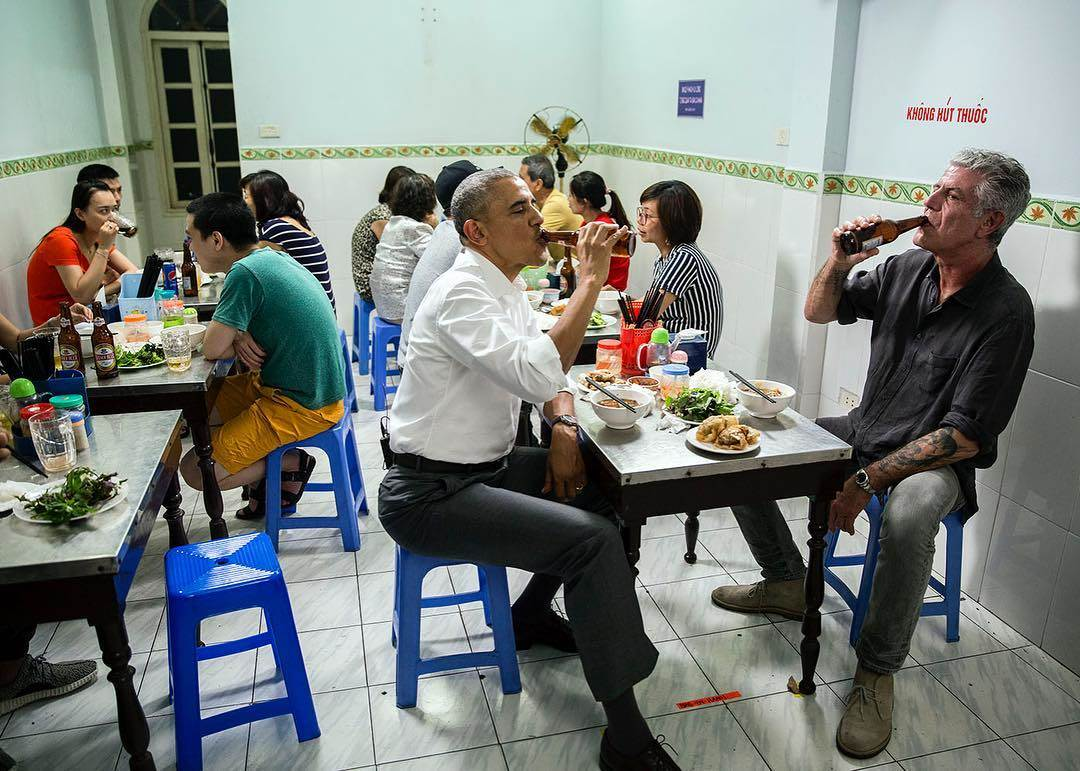 "White House photographer Pete Souza posted this image of President Barack Obama on Instagram with the caption, ""Beers and dinner with Anthony Bourdain last night in Hanoi."" Pete Souza / White House"