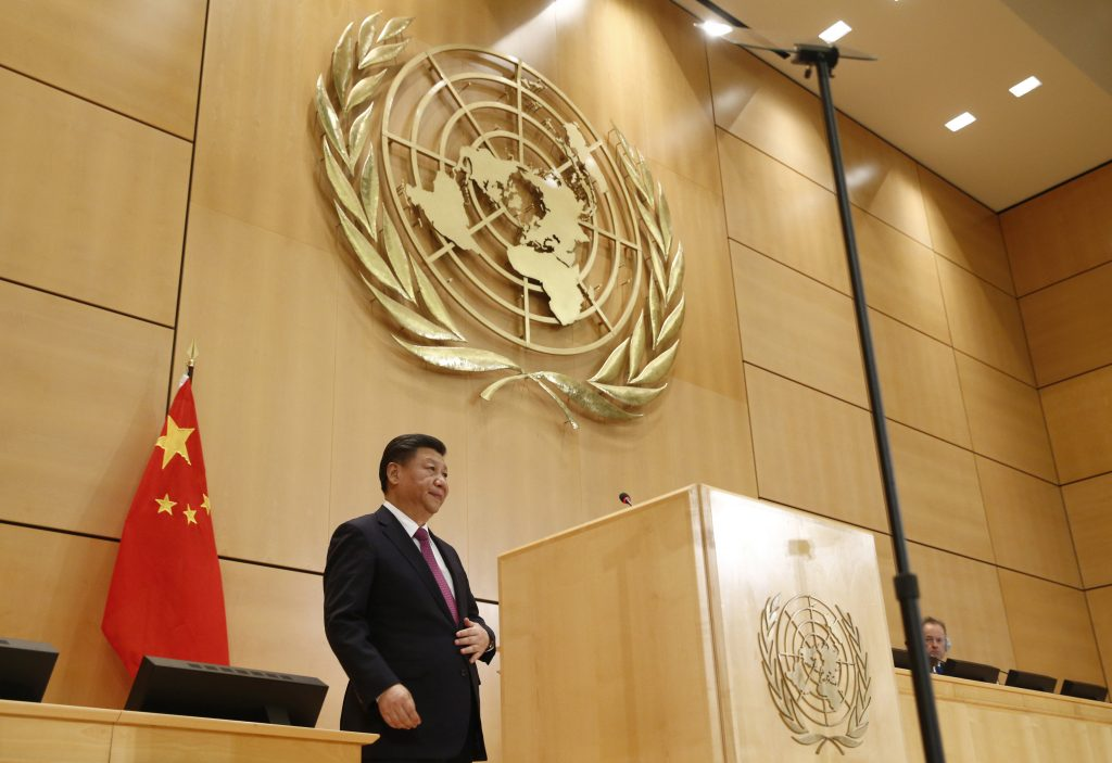 Chinese President Xi Jinping delivers a speech during a high-level event in the Assembly Hall at the United Nations European headquarters in Geneva on January 18, 2017. / AFP / POOL / DENIS BALIBOUSE (Photo credit should read DENIS BALIBOUSE/AFP/Getty Images)
