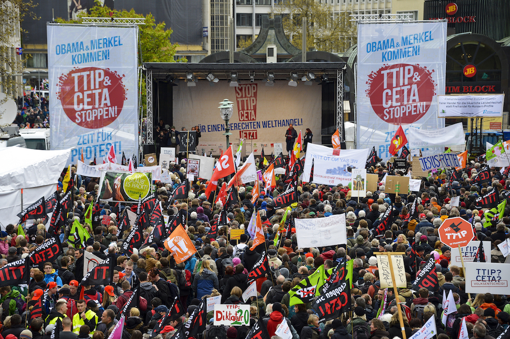 Protesters rallying against the TTIP and CETA free trade agreements march on the eve of a visit by U.S. President Barack Obama on April 23 in Hanover, Germany. Sascha Schuermann/Getty Images