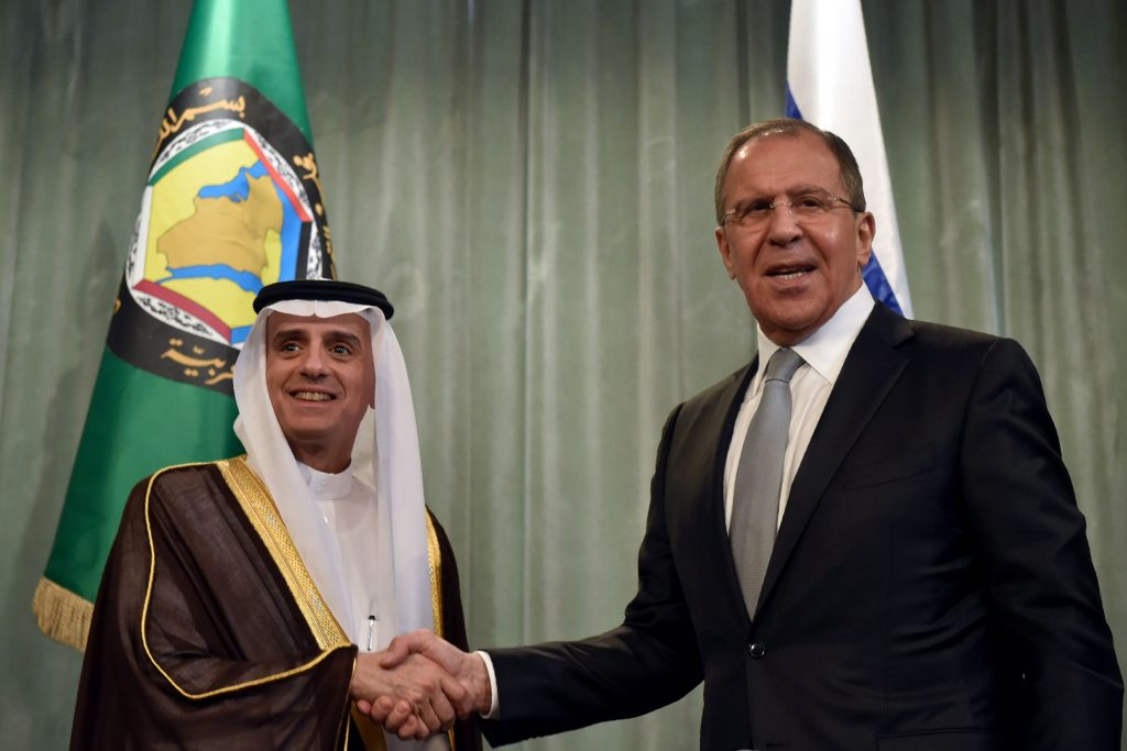 Russian Foreign Minister Sergey Lavrov (R) shakes hands with Saudi Foreign Minister Adel al-Jubeir during a joint press conference following Lavrov's meeting with foreign ministers of the Gulf Cooperation Council in Moscow on May 26, 2016. KIRILL KUDRYAVTSEV/AFP/Getty Images
