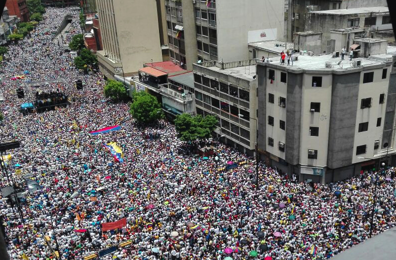 Opposition activists march in Caracas on Sept. 1. Venezuela's opposition and government head into a crucial test of strength Thursday with massive marches for and against a referendum to recall President Nicolas Maduro that have raised fears of a violent confrontation. STR/AFP/Getty Images