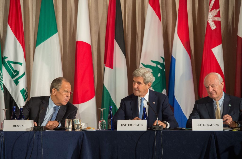 Russian Foreign Minister Sergey Lavrov (L), U.S. Secretary of State John Kerry (C) and United Nations Special Envoy for Syria Staffan Mistura attend the International Syria Support Group meeting, Sept. 22, 2016 in New York. BRYAN R. SMITH/AFP/Getty Images
