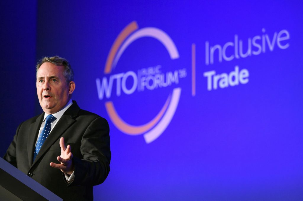 British International Trade Secretary Liam Fox speaks during a session of the WTO Public Forum meeting at the WTO headquarters on Sept. 27, 2016 in Geneva. FABRICE COFFRINI/AFP/Getty Images