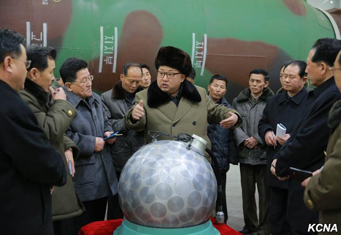 Kim Jong Un with warhead