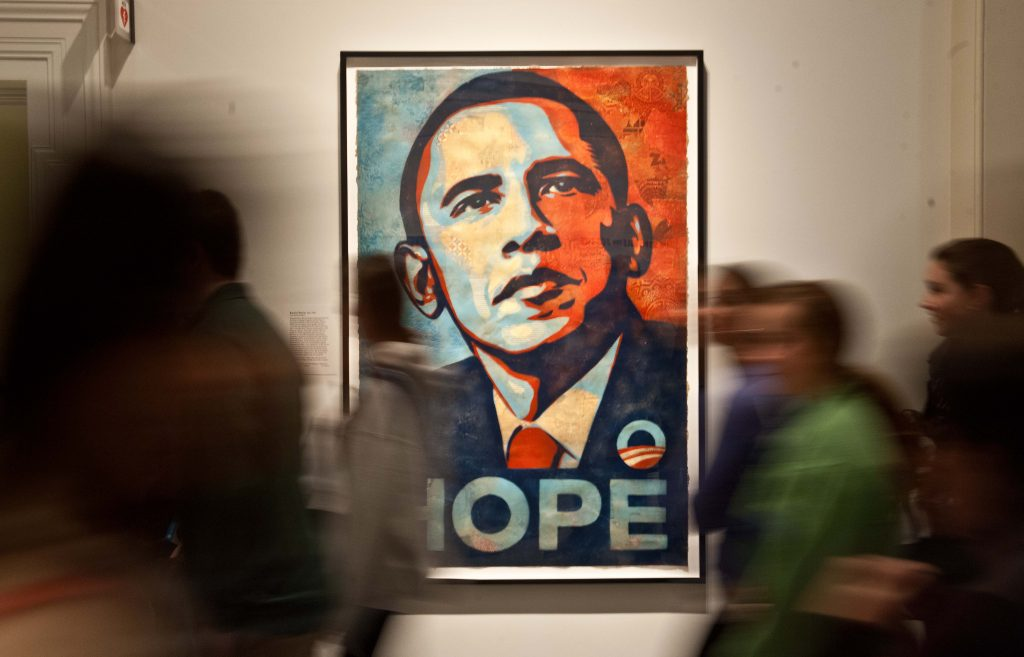 Shepard Fairey's portrait of U.S. President Barack Obama, based on a photograph by Mannie García, at the National Portrait Gallery in Washington, D.C., on Jan. 19, 2013. NICHOLAS KAMM/AFP/Getty Images