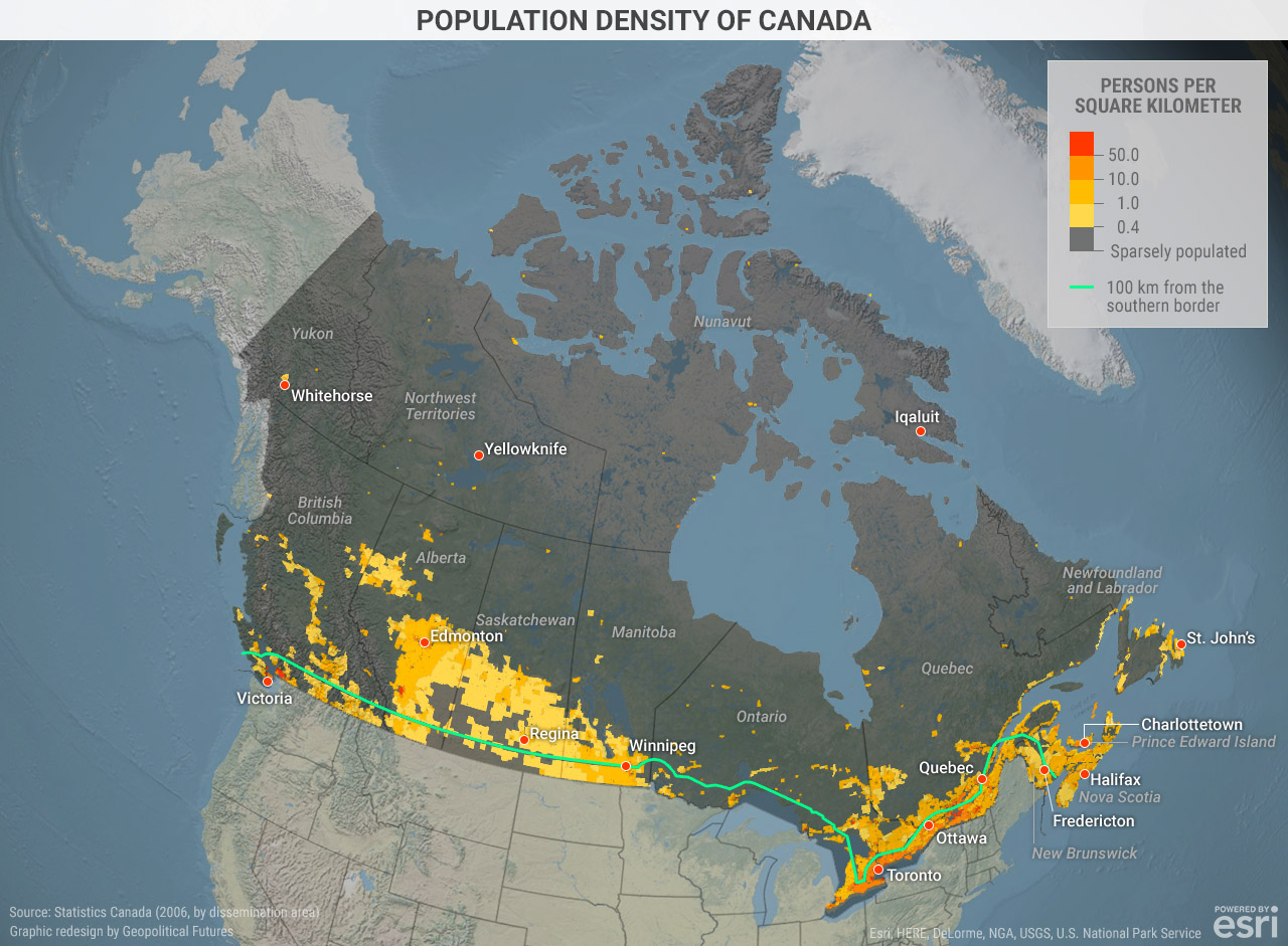 Grade 5 Blank Map Of Canada.Population Density Of Canada Geopolitical Futures