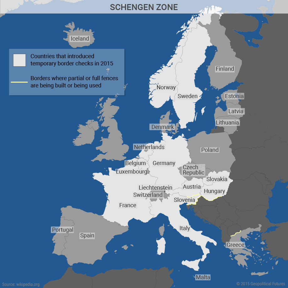 The Future of the Schengen Zone | Geopolitical Futures on france country map, new zealand country map, israel country map, spain country map, schengen information system, iceland country map, eea family permit, ireland country map, passport stamp, russia country map, australia country map, eu country map, italy country map, canada country map, belgium country map, austria country map, border control, portugal country map, schengen agreement, europe country map, romania country map, usa country map, singapore country map, thailand country map, czech republic country map,