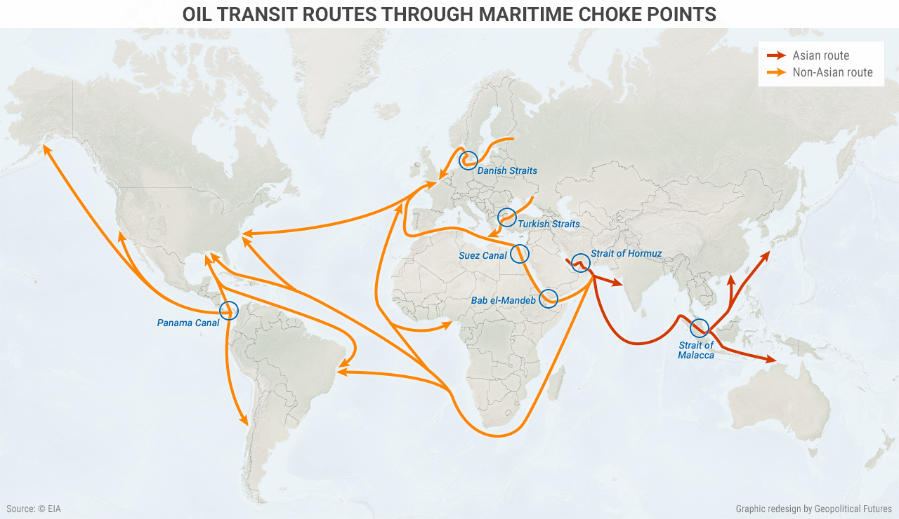 Major Choke Points in the Persian Gulf and East Asia   Geopolitical ...