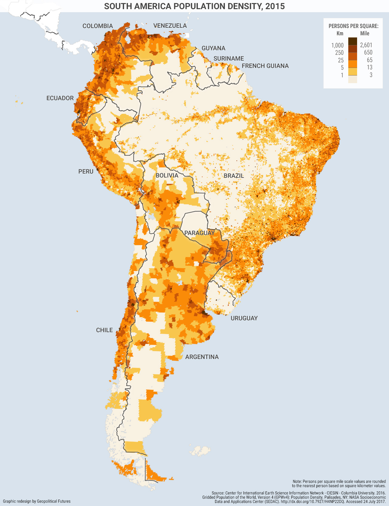 Map Of America By Population.South America S Population Clinging To The Coasts Geopolitical