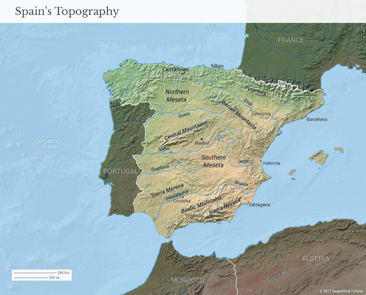 Map Of Spain Mountains.Spain S Defining Geographic Feature Geopolitical Futures
