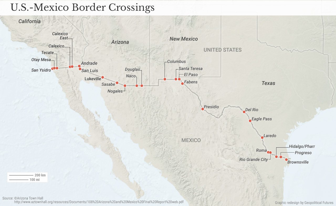 Us Mexico Border Crossings Geopolitical Futures - Mexico-and-us-border-map