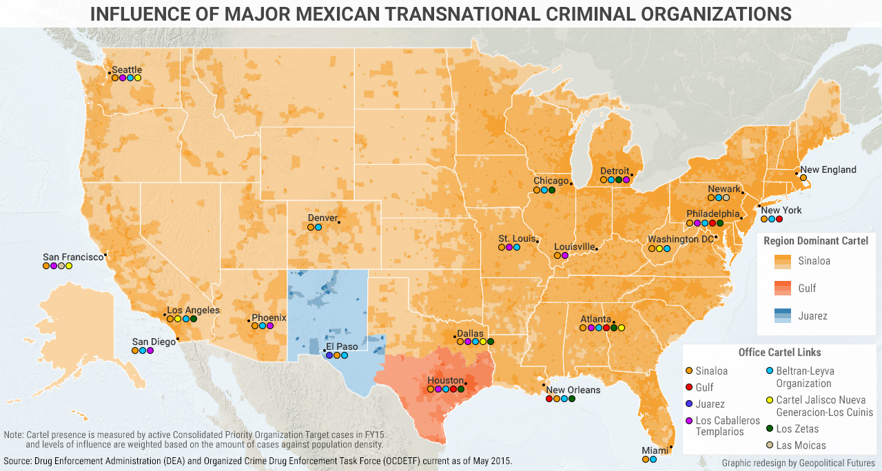 Mexico Drug Trafficking And Us Relations Geopolitical Futures - Map-of-violent-crime-in-us