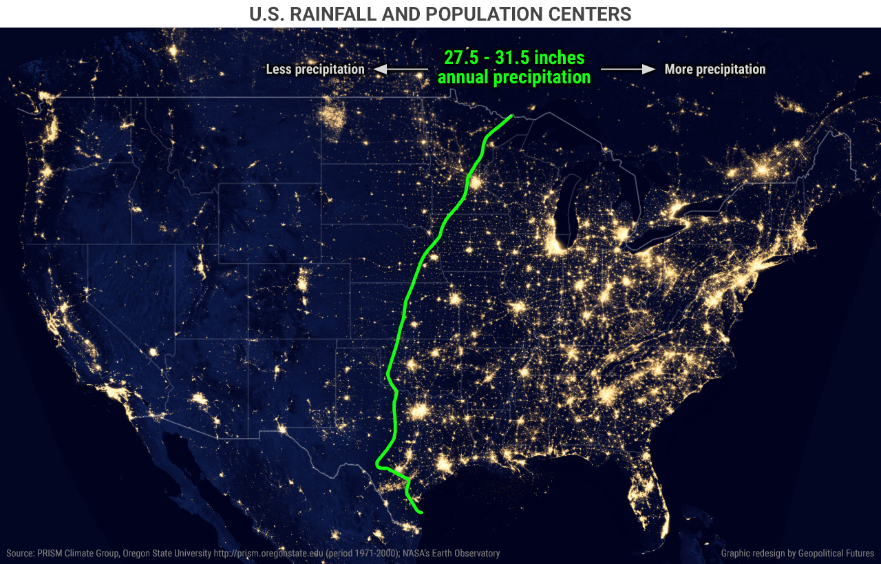 Us Rainfall And Population Centers Geopolitical Futures - Population-us-map