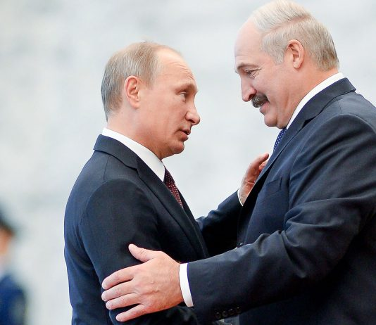 Belarusian president Lukashenko and Russian president Putin