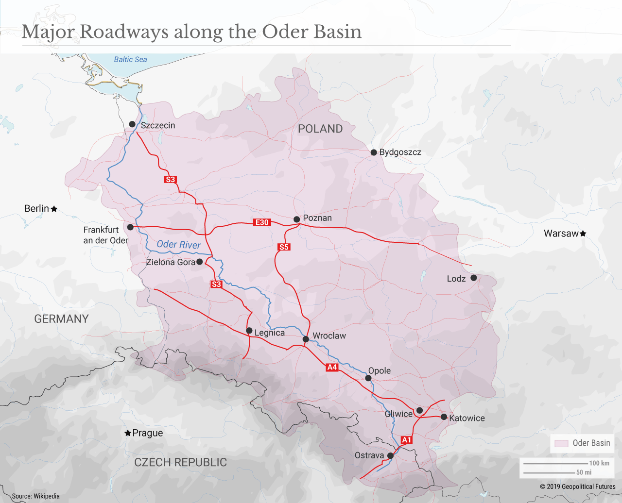 Major Roadways along the Oder Basin