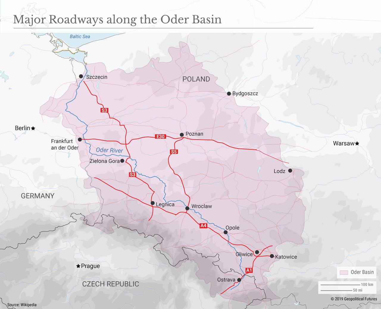 Major Roadways along the Oder Basin