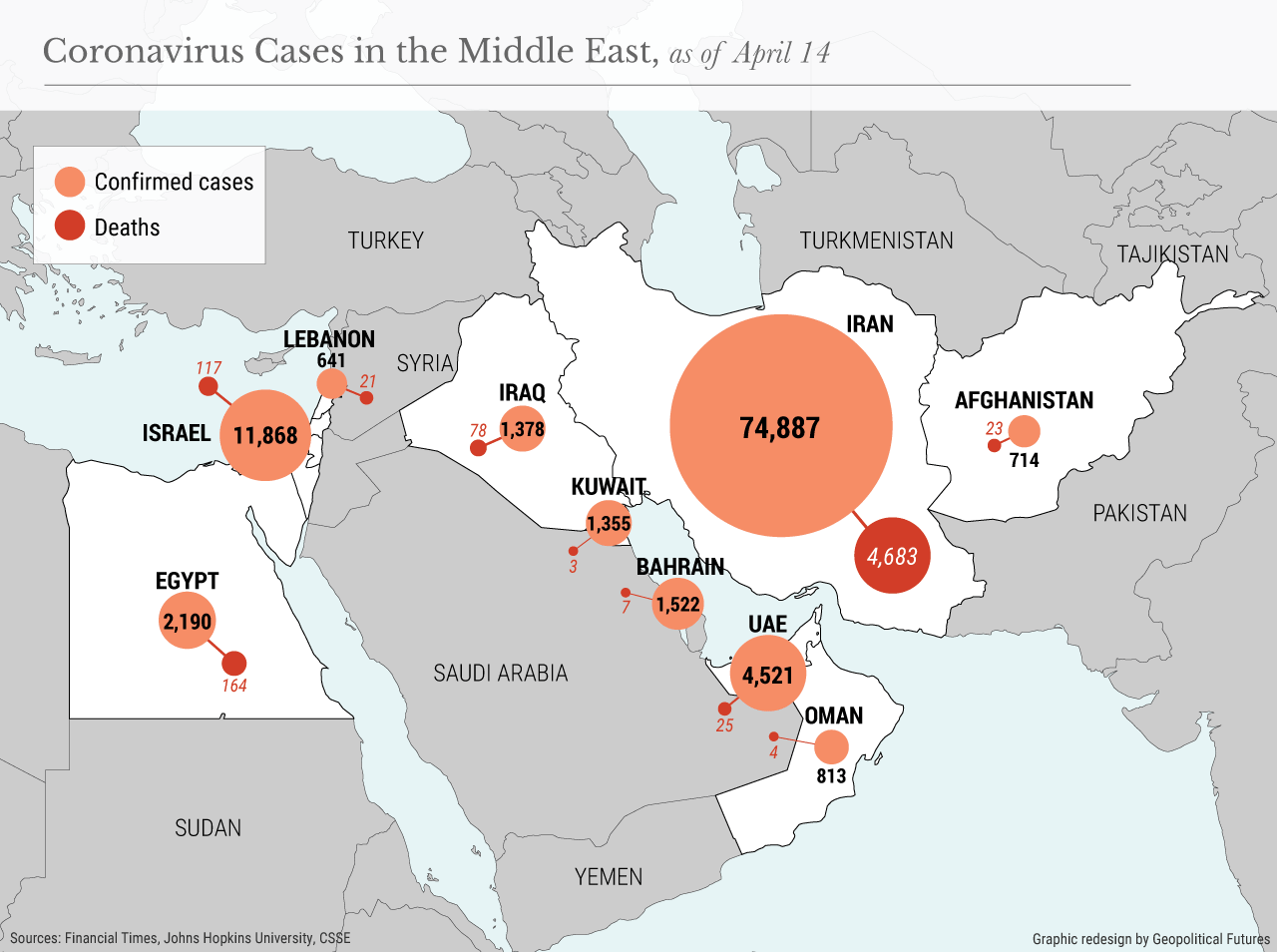 Coronavirus Cases in the Middle East, as of April 14