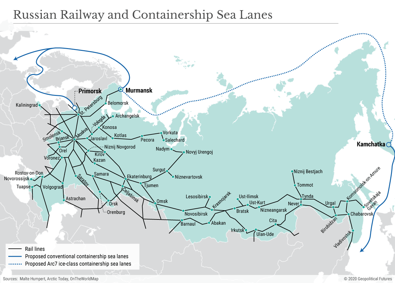Russian Railway and Containership Sea Lanes